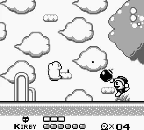 screenshot of kirby sucking in kirby's dreamland for the gameboy