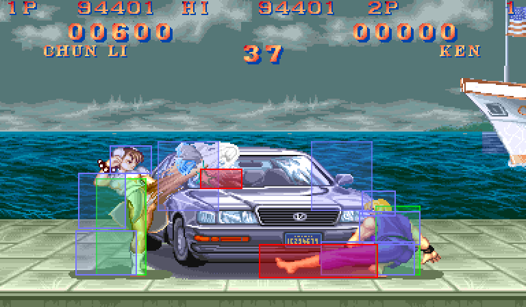 image of streetfighter 2 chun li and ken beating up a car with different color rectangles overlaid indicating hitboxes