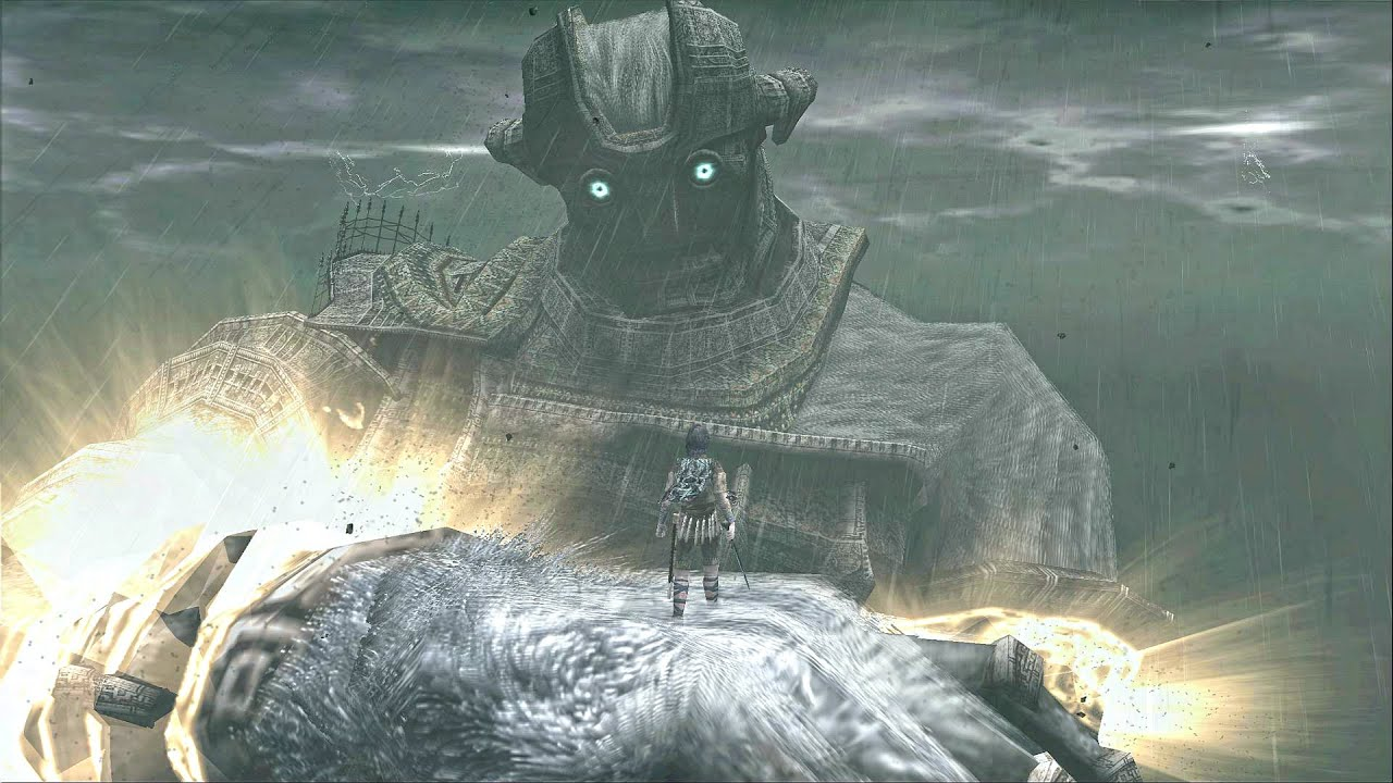 screenshot of Wander standing on a Colossus hand via Boss Fight Database