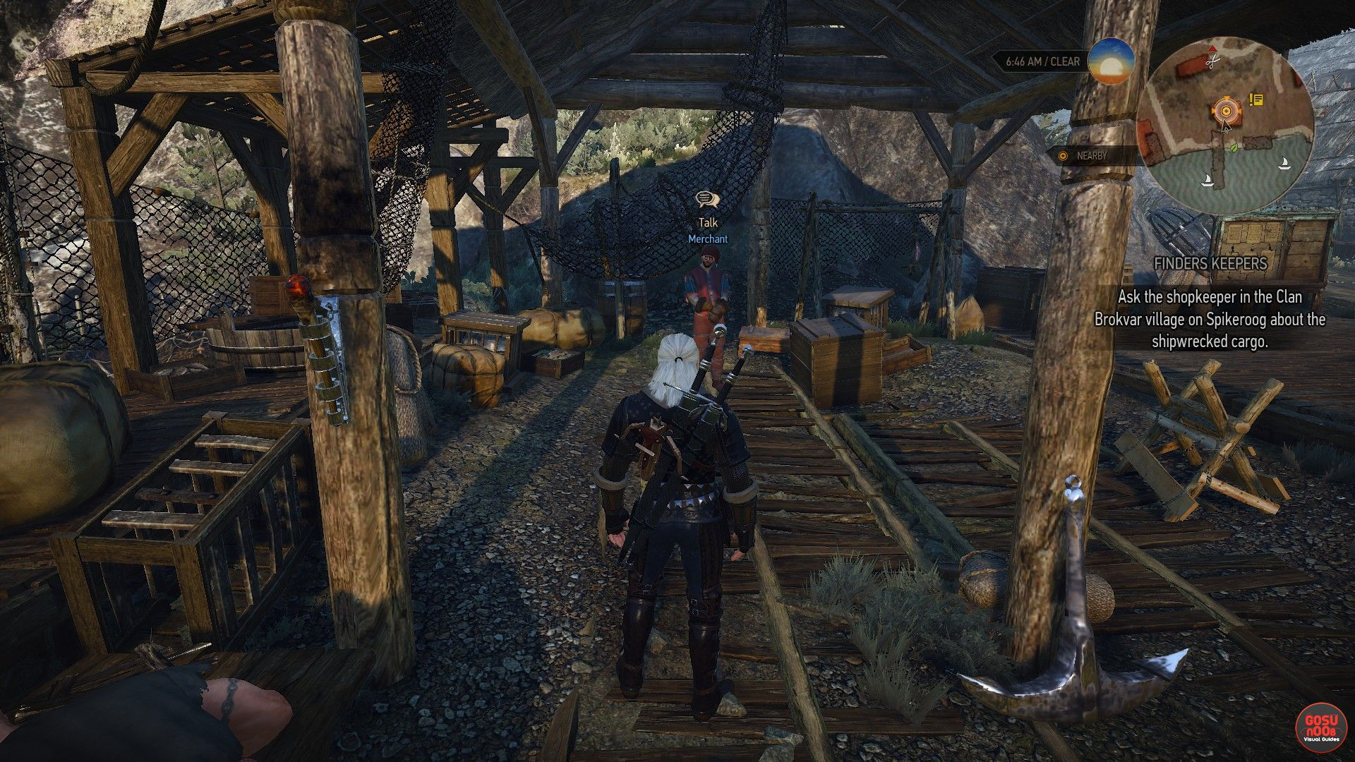 geralt standing in front of a seaside merchant who is surrounded by various crates and sundry in Witcher 3. screenshot from gosunoob