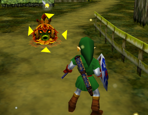 screenshot from Ocarina of Time showing link targeting an enemy with a big yellow reticle